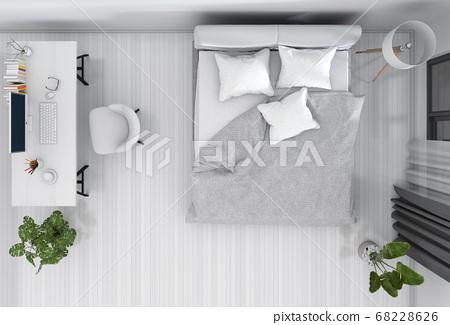 top view of interior bedroom with desktop computer. 3D render 68228626