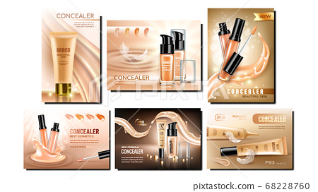 Concealer Cream Promotional Banners Set Vector 68228760