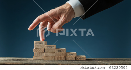 Businessman walking his fingers towards success 68229592