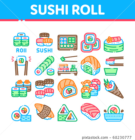 Sushi Roll Asian Dish Collection Icons Set Vector 68230777