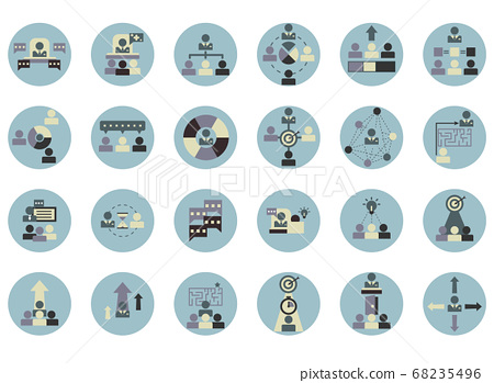 soft skills for good boss icons set	 68235496