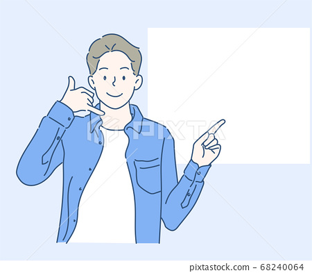 Call me. A Man showing call me sign hands gesture and pointing to blank banner. Hand drawn in thin line style, vector illustrations. 68240064