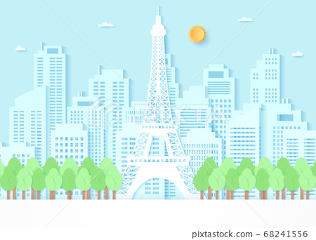 Eiffel tower surrounded by trees and building background, blue sky and sun, paper art style 68241556