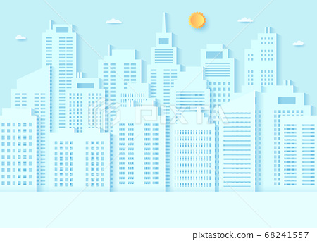 Cityscape, building with blue sky and a bright sun, paper art style 68241557