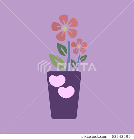 Orange flowers in purple pots have a heart shape isolated on background. 68242399