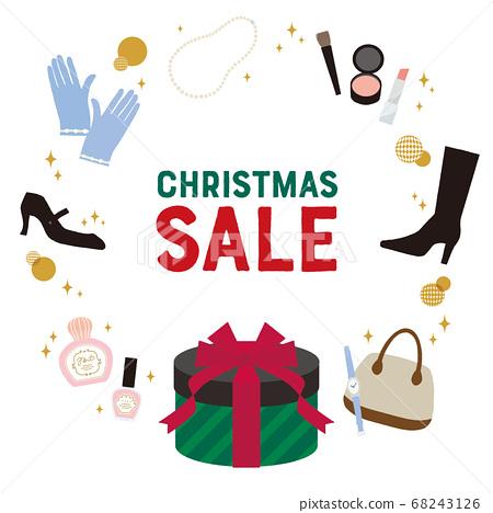 크리스마스 쇼핑 프레임 흰색 배경 문자가 68243126