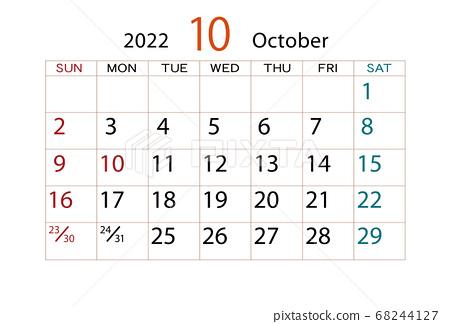 2022 Calendar October.2022 Calendar October Stock Illustration 68244127 Pixta
