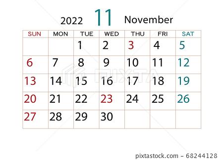 November Calendar For 2022.2022 Calendar November Stock Illustration 68244128 Pixta