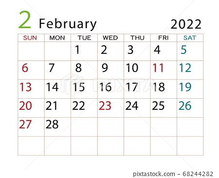 Moon Calendar February 2022.February 2022 Calendar Stock Illustration 68244282 Pixta