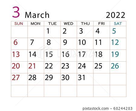 March 2022 Calendar.March 2022 Calendar Stock Illustration 68244283 Pixta