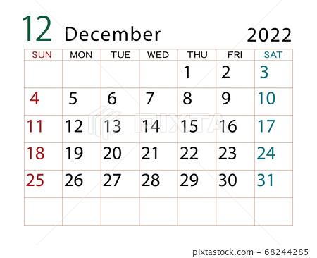 Calendar For December 2022.December 2022 Calendar December Stock Illustration 68244285 Pixta