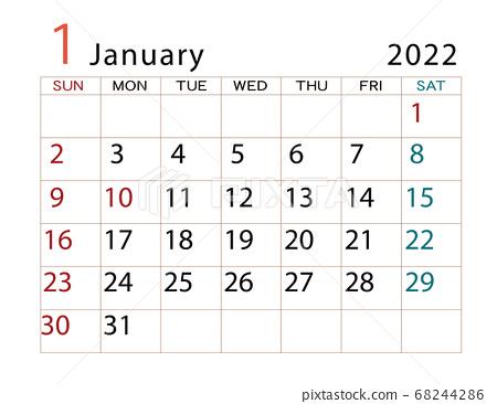Calendar Of January 2022.January 2022 Calendar Stock Illustration 68244286 Pixta