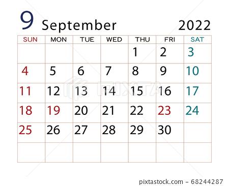 2022 September Calendar.2022 Calendar September Stock Illustration 68244287 Pixta