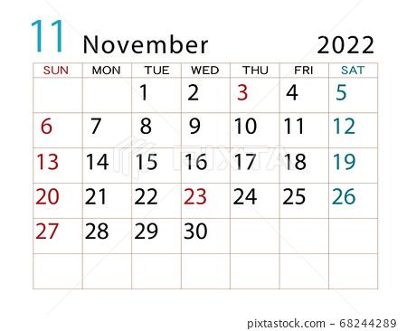 Calendar November 2022.November 2022 Calendar Stock Illustration 68244289 Pixta