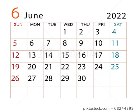 2022 June Calendar.June 2022 Calendar June Stock Illustration 68244295 Pixta