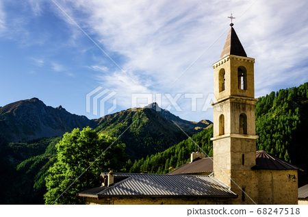 Mountain church and bell tower 68247518