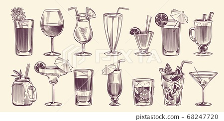 Sketch cocktails. Hand drawn different cocktail, alcohol drink in glass for party restaurant menu, cold mojito, tropical pina colada and margarita, engraving style vector isolated set 68247720