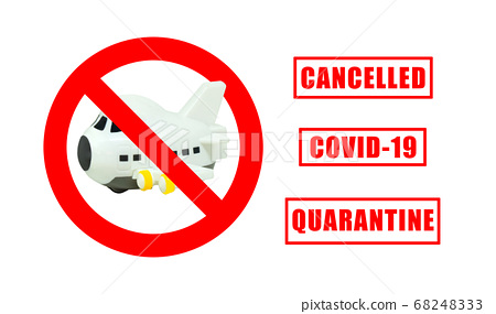Airplane model toy in Cancelled flight signs symbol for Crisis of Airline and Business Travel Concept. 68248333