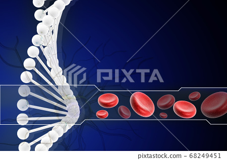 3d dna with blood cell in digital design 68249451