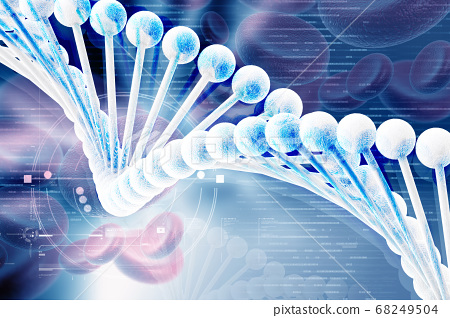 3d dna with blood cells in color background 68249504