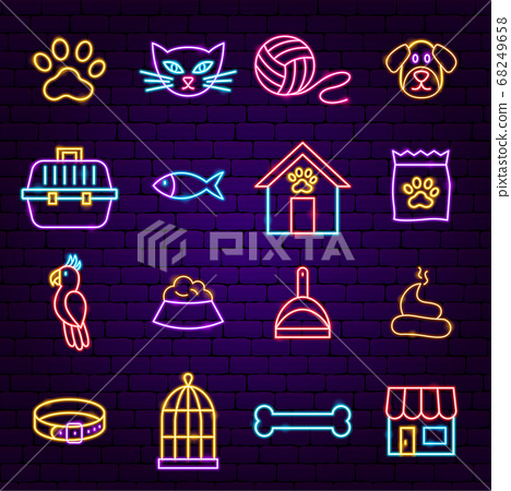 Pet Shop Neon Icons 68249658