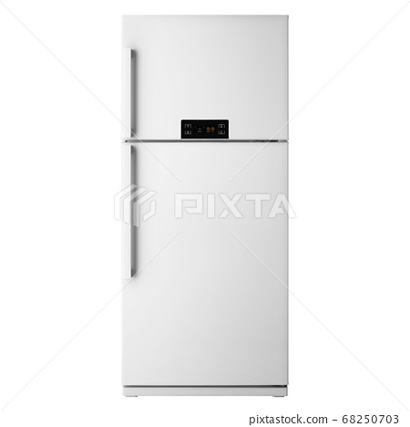 White Top Mount Fridge Freezer Isolated on White Background. Side View of Stainless Steel Double Door Refrigerator. Electric Appliances. Kitchen Appliances. Domestic Appliances. Smart Refrigerator 68250703