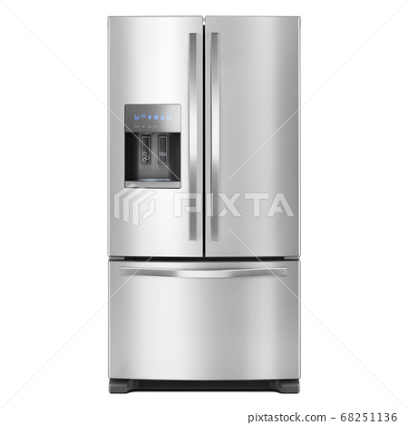 French Door Refrigerator Isolated on White Background. Domestic Appliances. Front View of Stainless Steel Three Door Fridge Freezer. Side-By-Side Counter-Depth Refrigerator. Kitchen Appliances 68251136