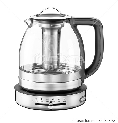 Electric Glass Kettle Isolated on White Background. Glass and Stainless Steel Tea Kettle. Domestic Appliances. Household Appliances. Kitchen Appliances 68251592