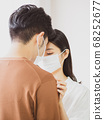 asian woman and man wearing Surgical mask at home 68252677