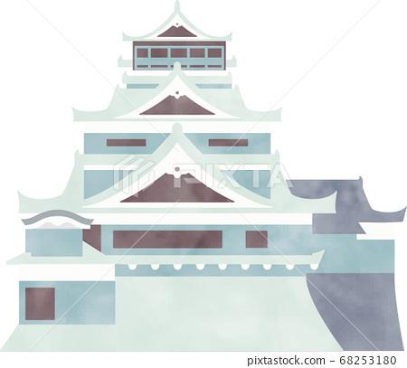在柔和的水彩顏色的一座城堡的插圖 68253180