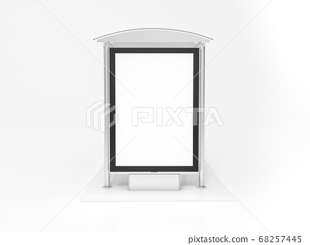 Public Transport Stop with Billboard and Place for Message 3D Rendering. 3d illustration Bus stop with blank banners LED light isolated on white background. 68257445