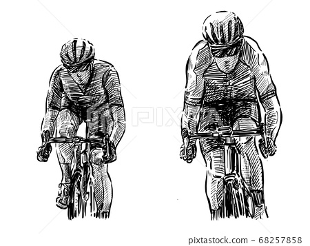 Sketch of bicycle competition hand draw  68257858
