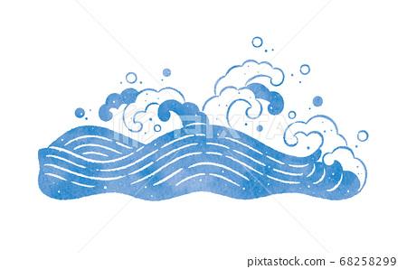 海和海浪的日式插圖 68258299