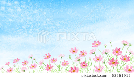 Watercolor illustration of cosmos field on the scales 68261913