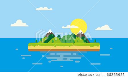 summer flat landscape, blue background 68263925