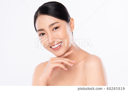 Beautiful smile young woman. White teeth on white background, 68265819