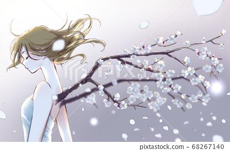 一個女人從她的背上生長著梅花樹枝 68267140