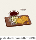 Japanese Potato Croquettes, Hand draw 68269094