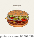 burger with meat and cheese illustration by hand, 68269096