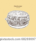 burger with meat and cheese illustration by hand, 68269097