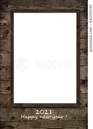 Simple photo frame new year card 68269292