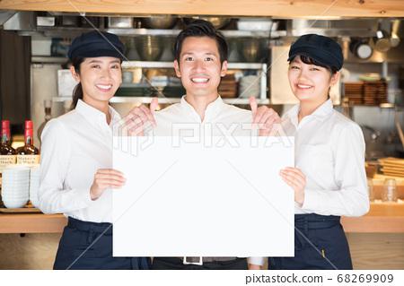 촬영 협조 영몽 식당 (칸다) 화이트 보드 점원 남녀 음식업 68269909