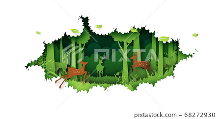 Deer willdlife in green jungle tropical rain forest nature landscape background paper art style.Vector illustration. 68272930