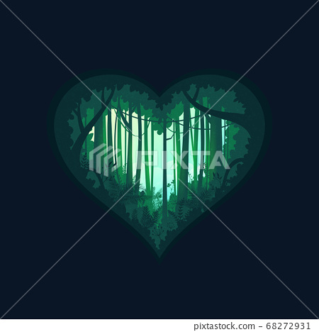 Heart shape of green jungle silhouette tropical rain forest.Nature concept background. 68272931