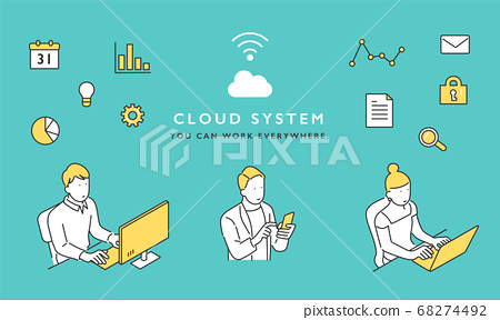 雲系統圖像插圖素材 68274492