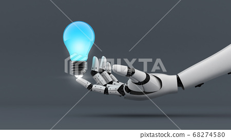 White robot hand make power to light bulb 68274580