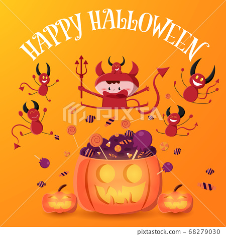 Boy in red devil costume hold trident and jump on the pumpkin with pile of candy. Halloween vector illustration. 68279030