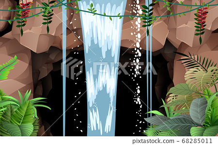 landscape of waterfall on the cave in the jungle 68285011