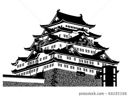名古屋城堡城堡塔(大型城堡塔)黑色和白色剪影 68285198