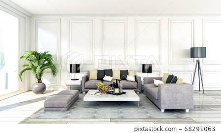 Modern and luxury apartment living room interior with large window, 3D Rendering 68291063